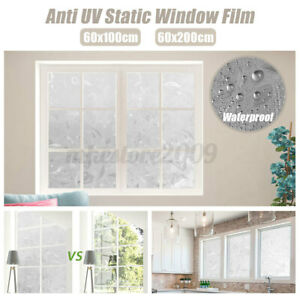 3D Window Film Static Cling Decorative Privacy Anti UV Frosted Floral Flowers