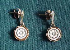 Flower Floral Dangly Post earrings 1 Pair Gold Plated Vintage