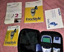 Feestyle therasense blood glucose meter monitor, case/manuals/Daily Log/Lansing+