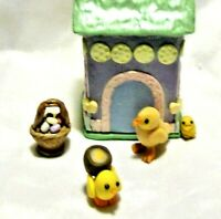 HEN HOUSE 3 YELLOW CHICKS OOAK Polymer unique set Easter basket eggs baby