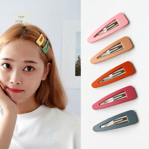 6cm Triangle Resin Hair Clip Candy Color Hairpins Women Girls Metal Barrettes