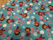 """Dora The Explorer Totally Dora Toss Floral Dot Cotton Flannel Fabric BTY x 42""""w"""