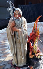 Sorcerer With Dragon, King Arthur Era Magician Figure, Merlin Wizard Figurine