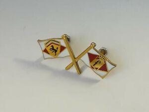 FERRARI PININFARINA Ashtray crossed flag enamel emblem size 35 x 18 mm.