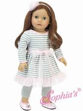 """Doll Clothes 18"""" Pink & Gray Stripe Dress, Metallic Leggings and Hair Accessory"""