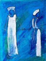 TWO ABSTRACT NURSES BLUE FIGURES PHOTO ART PRINT POSTER PICTURE BMP744B