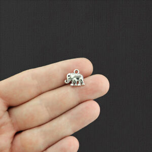 12 Elephant Antique Silver Tone Charms 2 Sided - SC5778