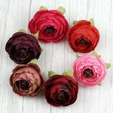 "Bulk 30P Red 2"" Artificial Silk Flower Head Fake Small Rose/Camellia/Peony Decor"