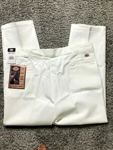 New Dickies 874 Men 44 X 30 Work Pants Flat Front Classic Twill White Painter