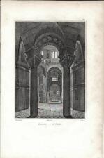 Stampa antica RAVENNA Basilica di San Vitale interno 1834 Old print Engraving