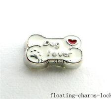 10pcs Dog lover bone Floating Charms for Memory Glass Locket FC930