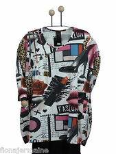 EG 46 48 50 52 ESCALADYA Luxus-Shirt Bigshirt Longshirt excellenter Druck Beige