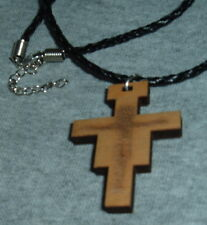 PLAIN SAN DAMIANO CRUCIFIX Pendant WOOD 18 in leather Cord wood indented Corpus