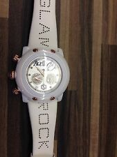 Glam Rock Ladies Watch. White Leather Strap Rose Gold Look