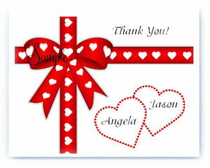 100 Custom Personalized Red Bow Hearts Wedding Bridal Thank You Cards
