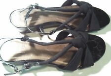 Kim Rogers Black Dress Remy Low Heel Shoes Classy Slingback Open Toe Foot 6.5 M