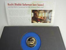 RASHI-RABBI SOLOMON BEN ISAAC/JEWISH SAGES STATE MEDAL 17g GOLD, ORIGINAL FOLDER