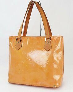 Auth LOUIS VUITTON Houston Rose / Baby Pink (Orange) Vernis Tote Bag Purse#40661