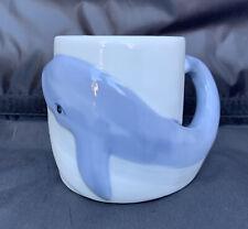 Sperm Whale Handle 3 Dimensional 3D Figural Stoneware Coffee Mug Cup