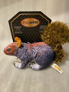 Pawprintz Dog Toy Realistic Durable Canvas Reinforced Seams Squirrel