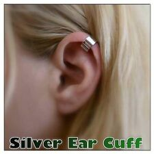 EAR CUFF CARTILAGE UPPER HELIX CLIP ON PLAIN SMOOTH SIMPLE EMO PUNK GOTHIC UK