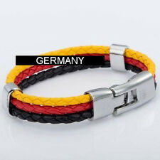 ARMBAND LEDER FUSSBALL WM EM Deutschland Germany EDELSTAHL Herren Damen Sport