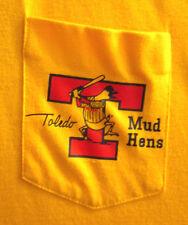 TOLEDO MUD HENS older logo yellow polo shirt med vtg OHIO baseball 1980s pocket