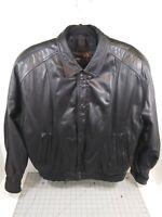 Vintage Black Leather Jacket Byrnes & Baker Men's Sz M Thinsulate Thermal Lining