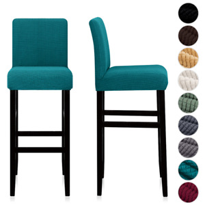 Jacquard Bar Stool Chair Cover Short Back Dining Chair Slipcover Banquet Wedding