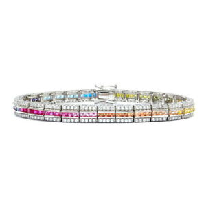 12tcw Princess Multi-Gemstone Tennis Rainbow Bracelet 925 Sterling Silver 6.5mm