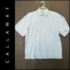 Callaway Mens Career Formal Short Sleeve Pinstripe Cotton Polo Shirt Size XL