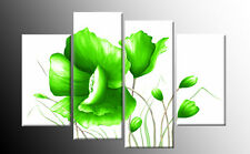 LIME GREEN FLORAL FLOWER CANVAS WALL ART PICTURE SPLIT MULTI ARTWORK 100cm wide