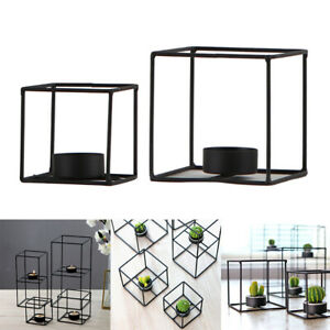 2-in-2 Black Creative Square 3D Geometric Candle Holder Tea Light Container