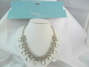 NWT MONET BRIDAL COLLECTION SILVER & CLEAR RHINESTONE CHOKER NECKLACE, Stunning
