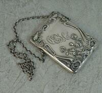 Edwardian Art Nouveau Sterling Silver Card Case Chatelaine