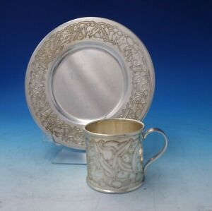 Asprey English Sterling Silver Child's Set 2pc Plate Cup with Bunnies (#5192)