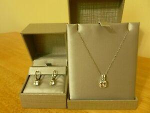 White Sapphire Pendant Necklace & Earring Set
