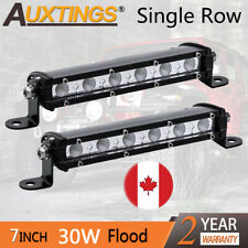 2XSuper Mini 7'' 30W Led Light Bar Flood Single Row Work Driving Lights 4x4 CA