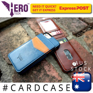 iPhone 7 leather case - holds 6 cards. Genuine HeroTech for Apple iPhone