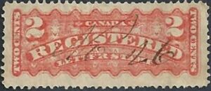 Canada    # F1    Registration Stamps     Used  1875  Issue