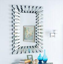 Wall Mirror 3d Sunburst Silver Frame Rectangular Modern Glass