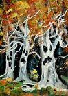 ORIGINAL ACEO Halloween Haunted TREE GHOSTS Spirit Autumn Tree Soul Fall ATC ART
