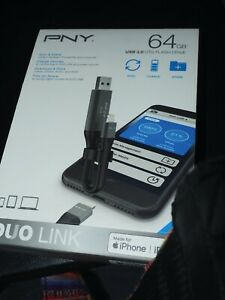 PNY DUO Link, 64GB, USB 3.0 iPhone and iPad, Plug and Play