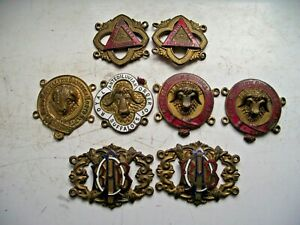 ANTIQUE RAOB BUFFALO BRASS & ENAMEL MEDAL PLAQUE COLLECTION 8 MEDALS SEE PICS