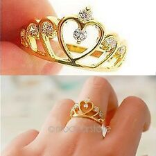 Hot Fashion Women Gold Filled Crystal Rhinestone Crown Ring Finger Gift MHM267