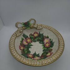 """Fitz and Floyd Christmas Ribbon and Flowers 8.25"""" Bowl"""