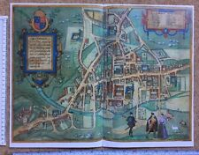 Old Colour Map of Cambridge, England: 1575 by Braun & Hogenberg REPRINT 1500's