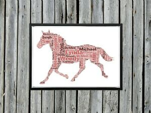 Personalised A4 Word Art Horse Animal Birthday Gift Photo Picture Print Image