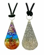 7 Chakras Copper Coil Tear Drop Orgonite Pendant Crystal Wonderland