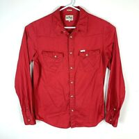 Wrangler Red Snap Button Long Sleeve Slim Fit Shirt Size Men's Large